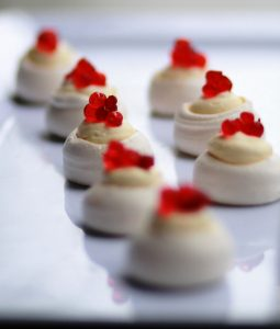 Petite meringues with Peninsula Larders Strawberry Flavour Pearls