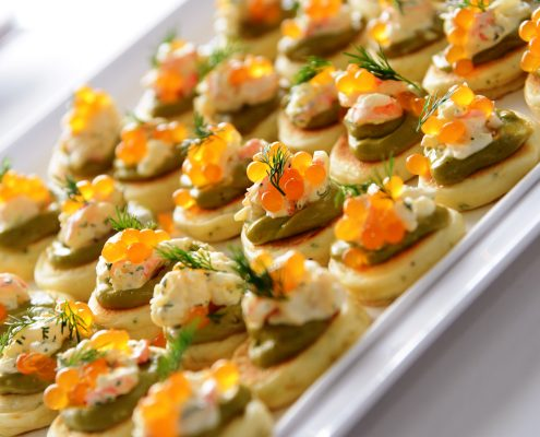 Tangerine Flavour pearls add a delicious citrus burst to our canape with prawns