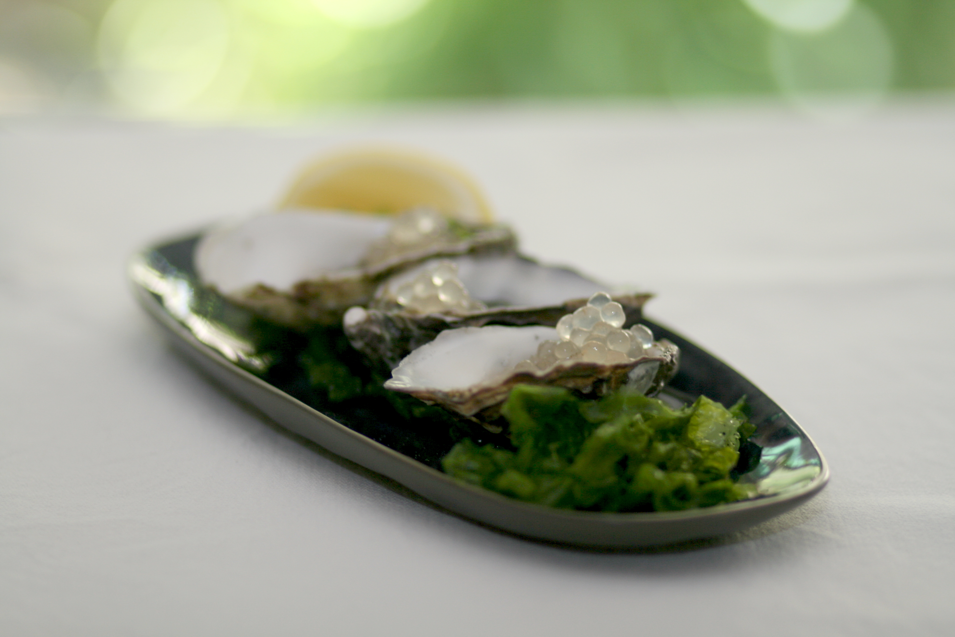 Lemon & Black Pepper flavour pearls add a burst of delicious fun to oysters