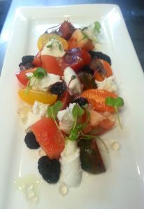 Tomato Salad with Peninsula Larders Flavour Pearls