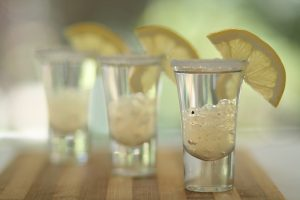 Tequila shots with Lemon & Black Pepper Flavour Pearls