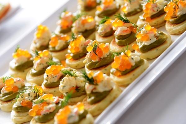 tangerine flavour pearls, canape garnish, canape idea, molecular gastronomy, prawn canape,
