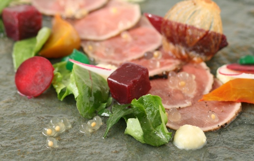 beef carpaccio, hony mustard, flavour pearls, entree recipe, food service product