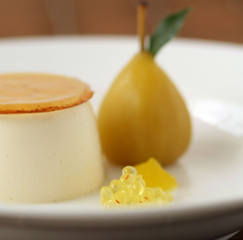 dessert recipe, poached pears, saffron, restaurant