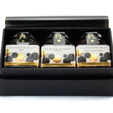 Peninsula Larders Gift Box with 3 jars of Flavour Pearls and a serving spoon