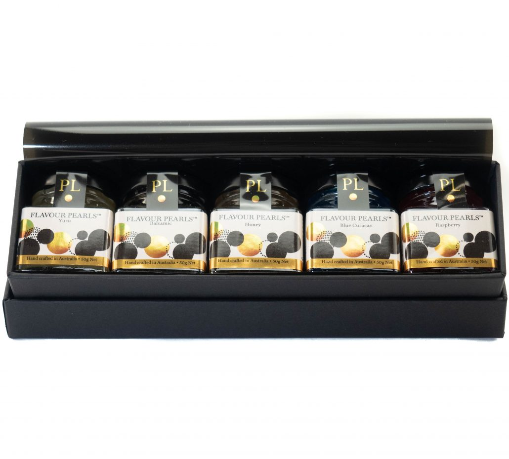 Peninsula Larders Gourmet gift box with 5 jars of Flavour Pearls and a serving spoon