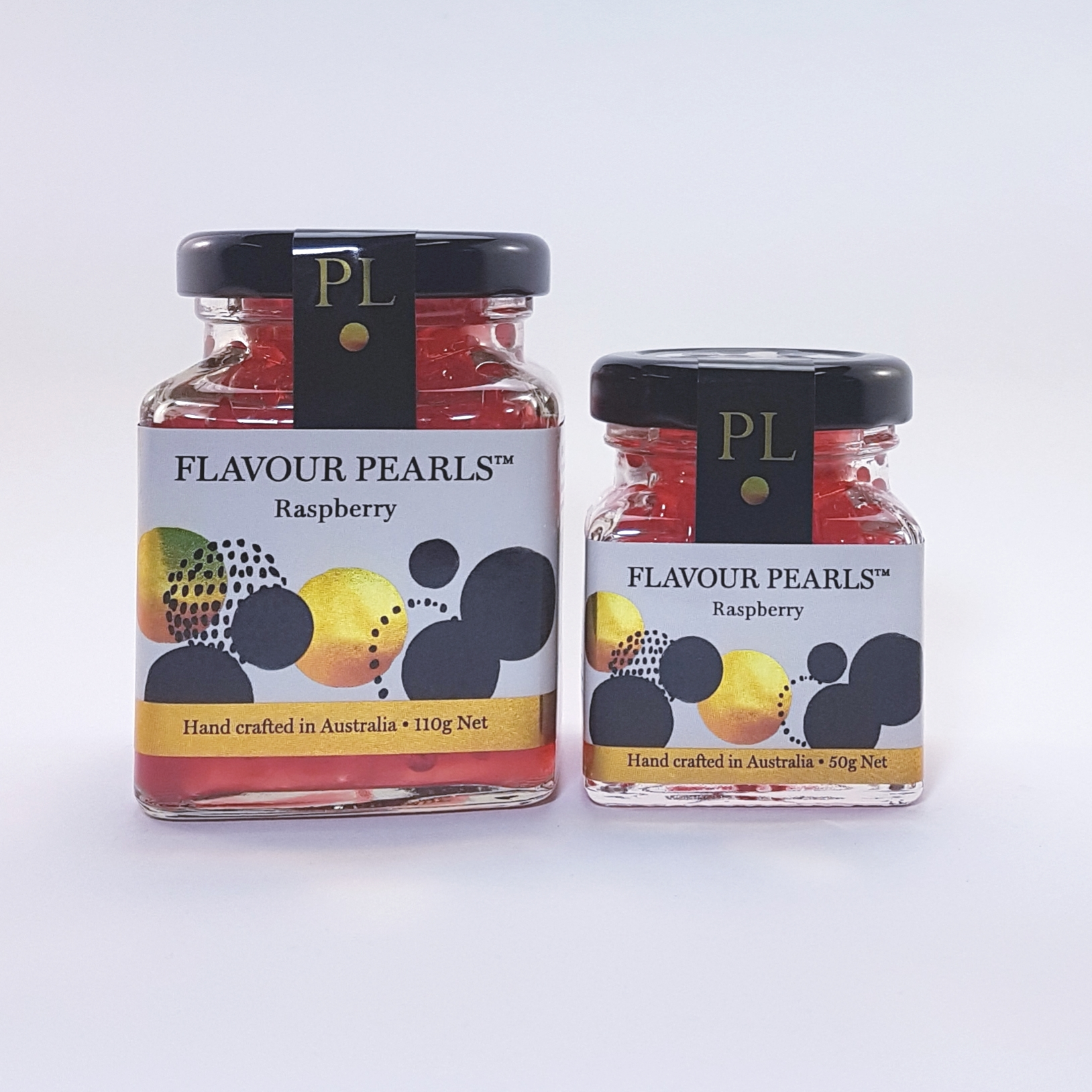 Raspberry Flavour Pearls 110g and 50g Jars