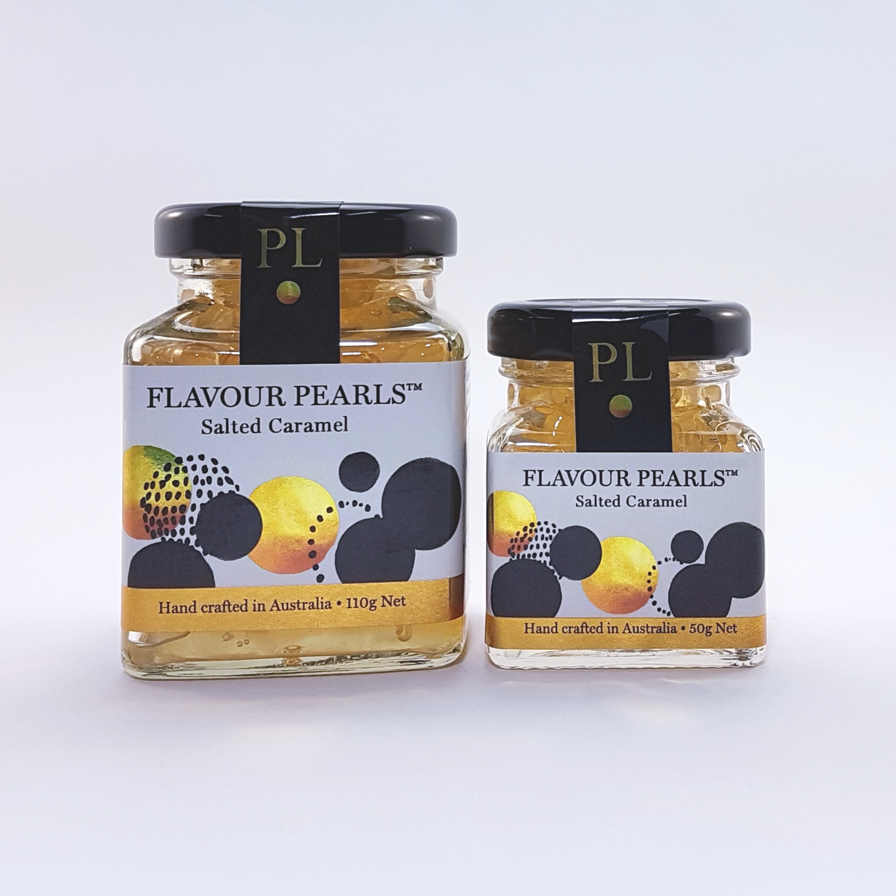 Salted Caramel Flavour Pearls 110g and 50g Jars