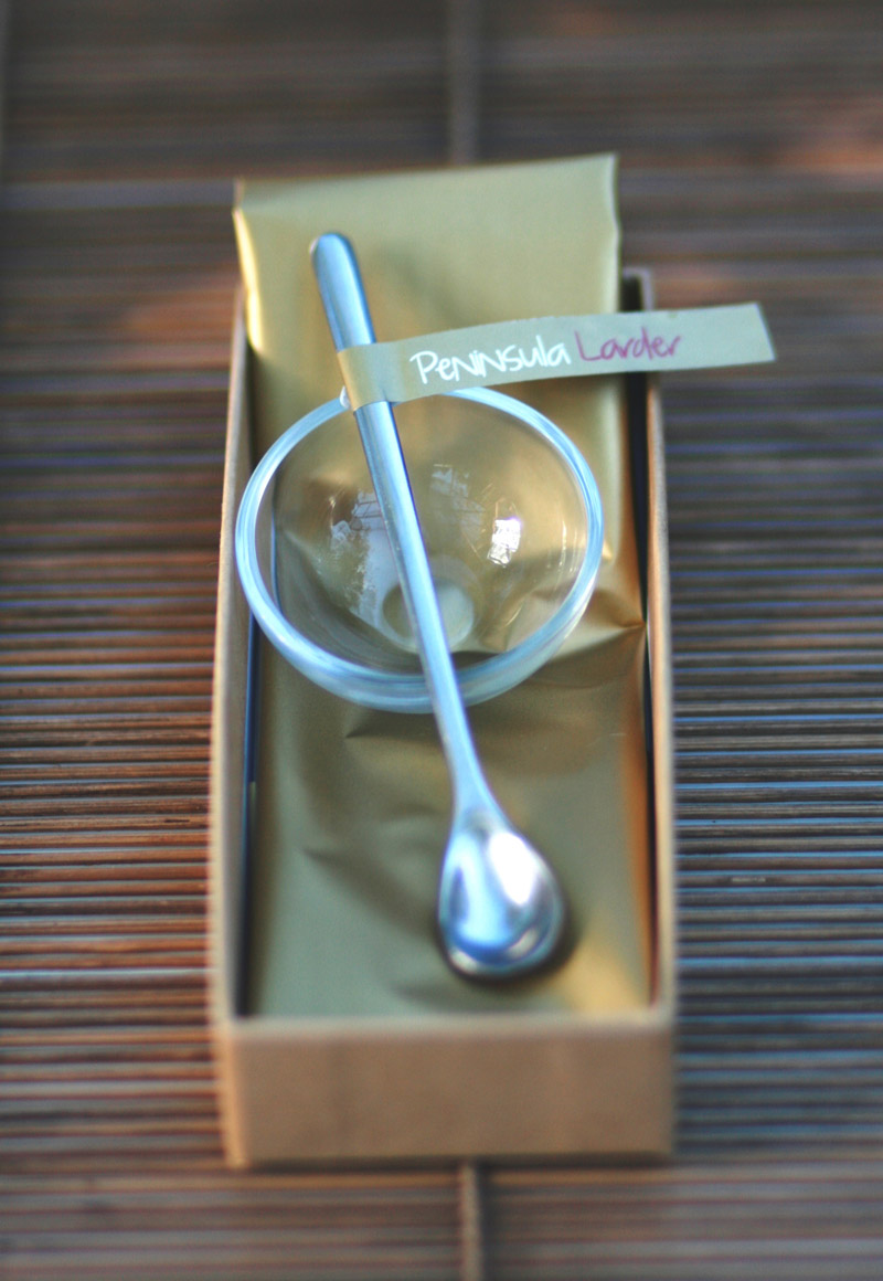 Peninsula Larders stylish serving spoon & dish will turn your Flavour Pearls into a lovely gift