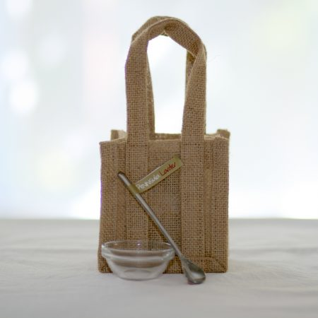 Peninsula Larders cute jute gift bag, serving spoon & dish are the perfect addition to your gift of Flavour Pearls