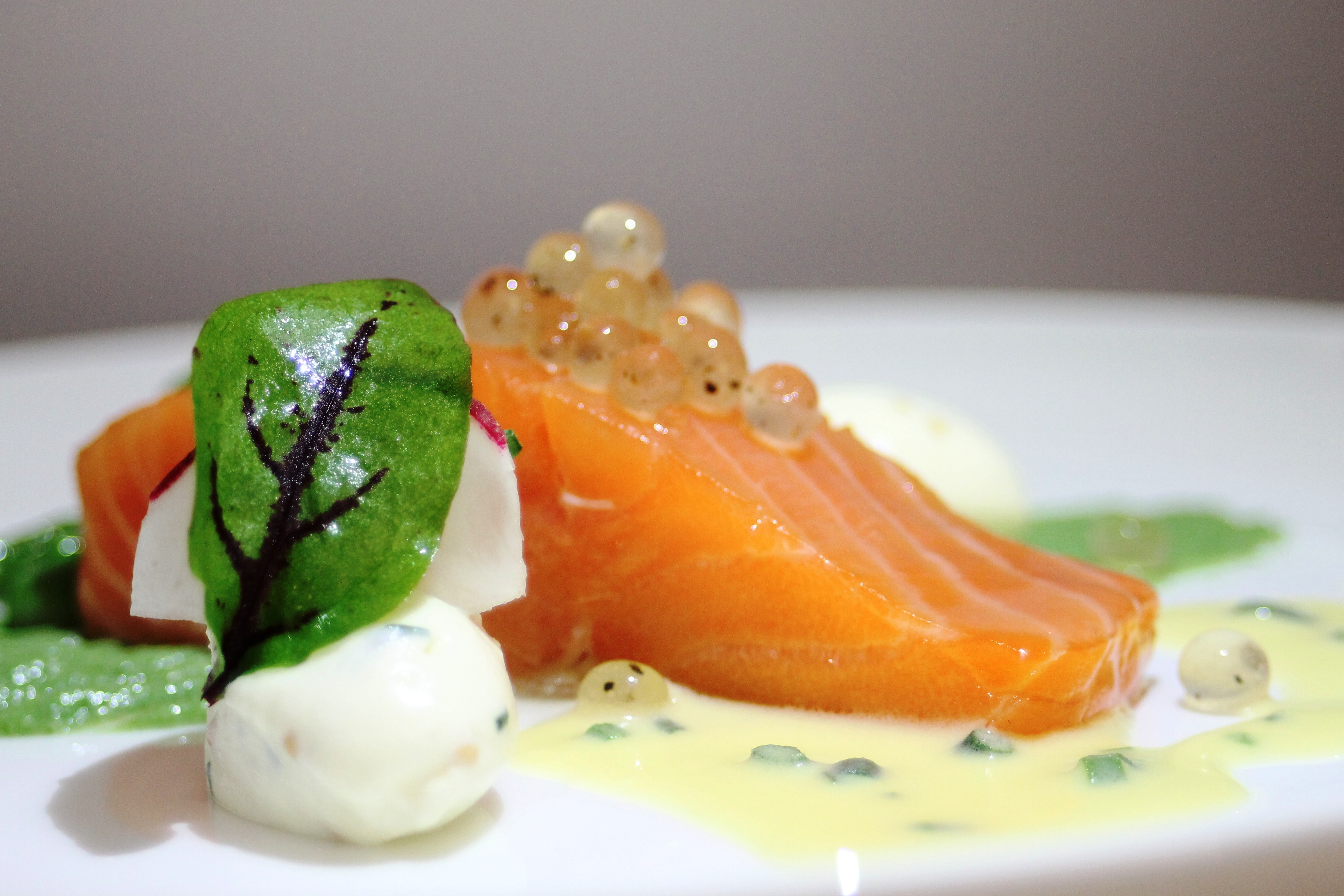 Atlantic Salmon with Lemon and Black Pepper Flavour Pearls