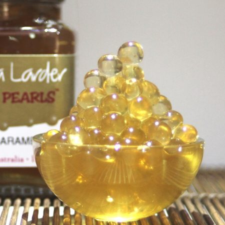 Peninsula Larders Salted Caramel Flavour Pearls are a gourmet garnish for your favourite desserts and cocktails