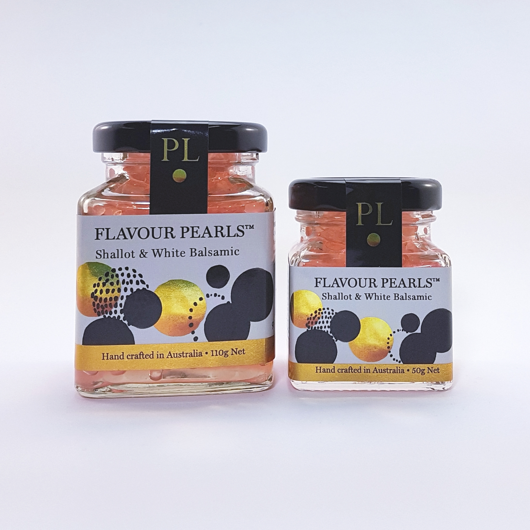 Shallot and White Balsamic Flavour Pearls 110g and 50g Jars