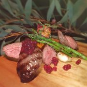 Peninsula Larders Australian Native pepperberry & Cherry Flavour Pearls with grilled kangaroo fillet