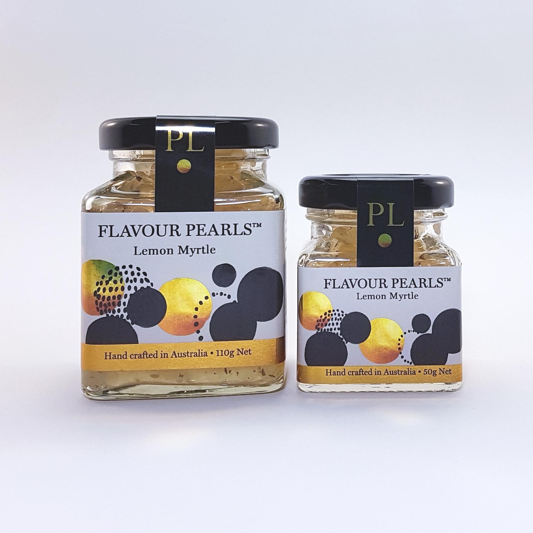 Lemon Myrtle Flavour Pearls 110g and 50g Jars
