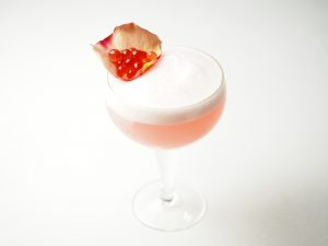 Raspberry Rose Gin Fizz Cocktail and Peninsula Larders Raspberry Flavour Pearls