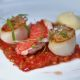 Scallops and Red Mullet with White Balsamic Flavour Pearls by Peninsula Larder