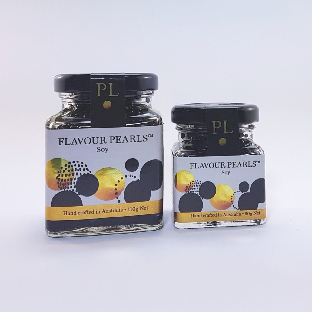 Soy Flavour Pearls bu Peninsula Larder are a gourmet garnish for your favourite foods