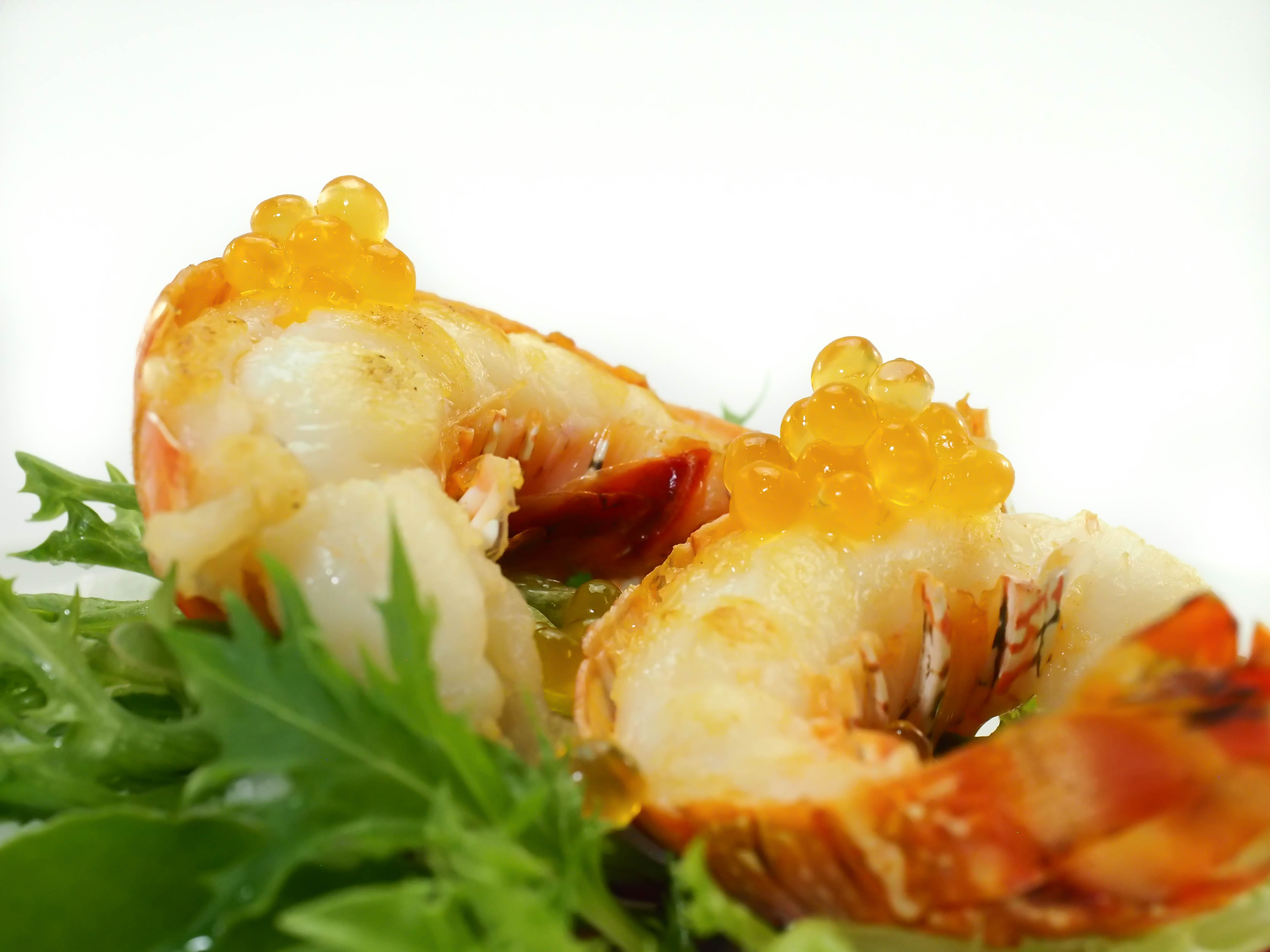 Grilled lobster Tails and Tangerine Flavour Pearls