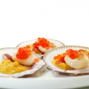 Peninsula Larders Seared scallops, sweet corn, pancetta and Native Bush Tomato Flavour Pearls