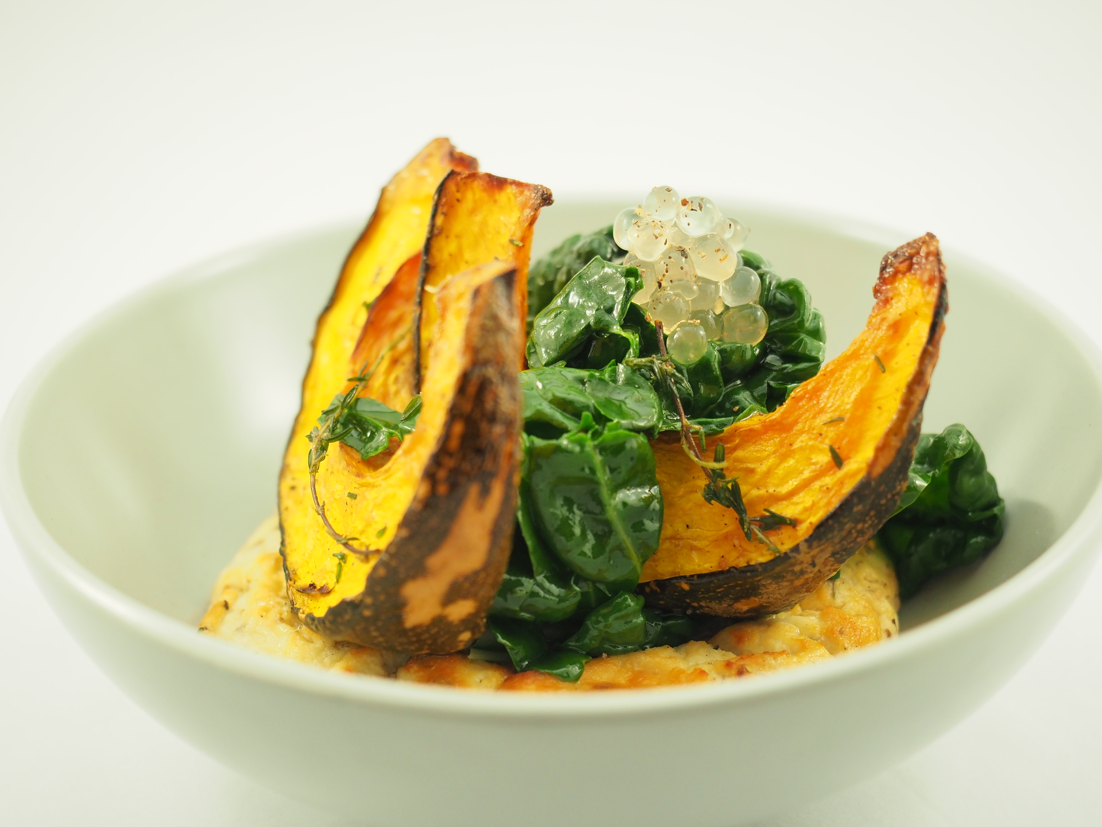 Baked Ricotta, Roast Pumpkin and Silverbeet with Lemon and Black Pepper Flavour Pearls