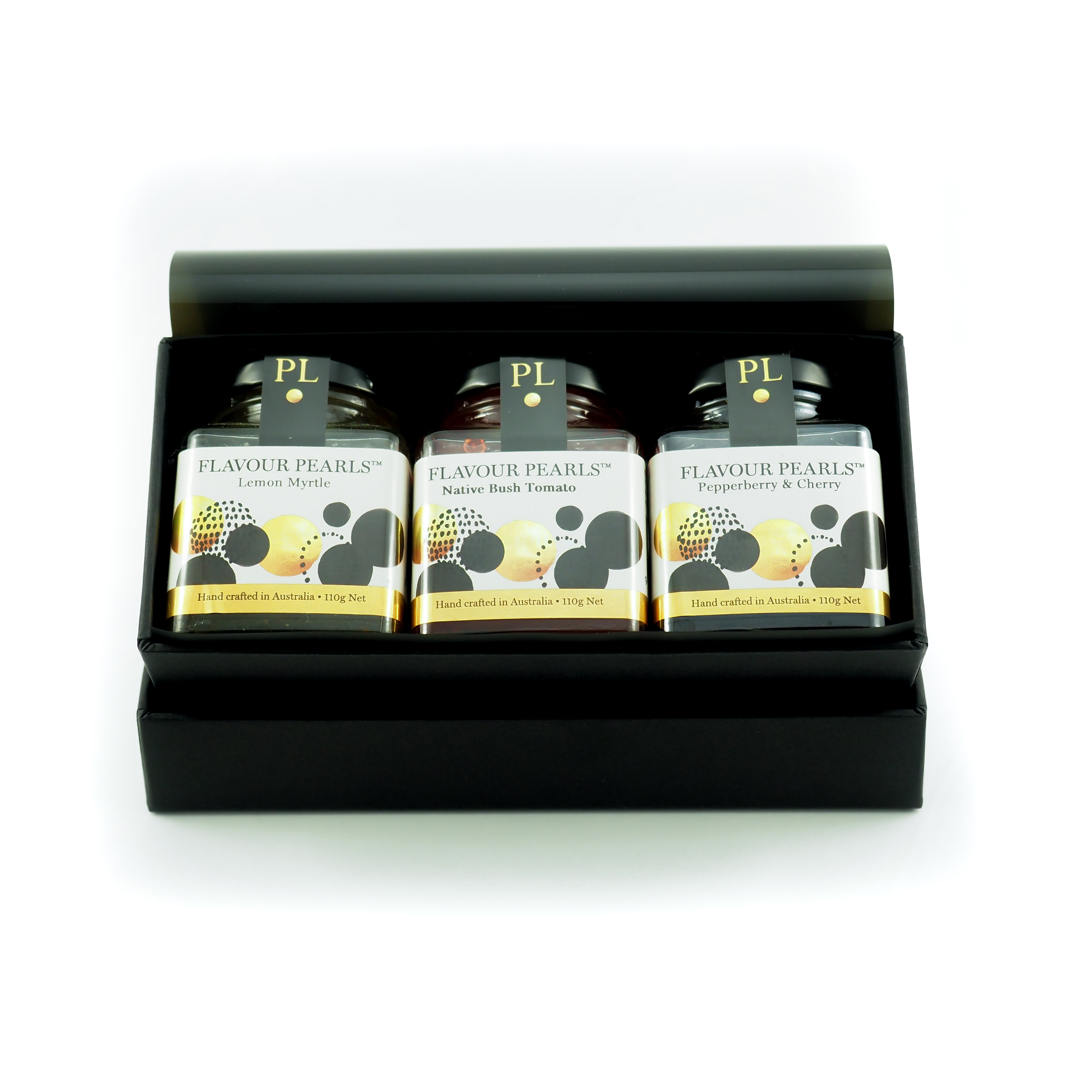Gift box with 3 large jars Flavour Pearls