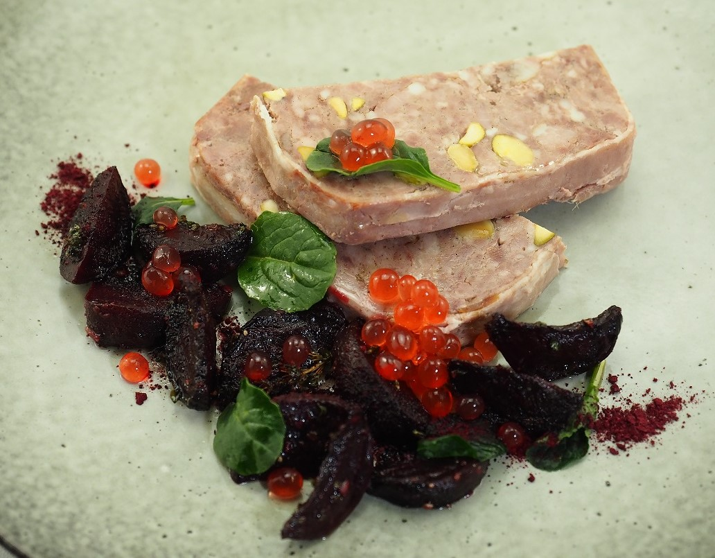Terrine with Roast Beetroot and Native Bush Tomato Flavour Pearls