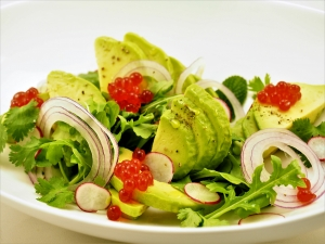 Avocado Salad with Blood Orange Flavour Pearls