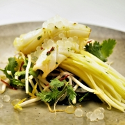 Green Mango Salad with Calamari and Yuzu Flavour Pearls