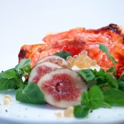 Fig candied prosciutto and marinated goats cheese with Honey Flavour Pearls