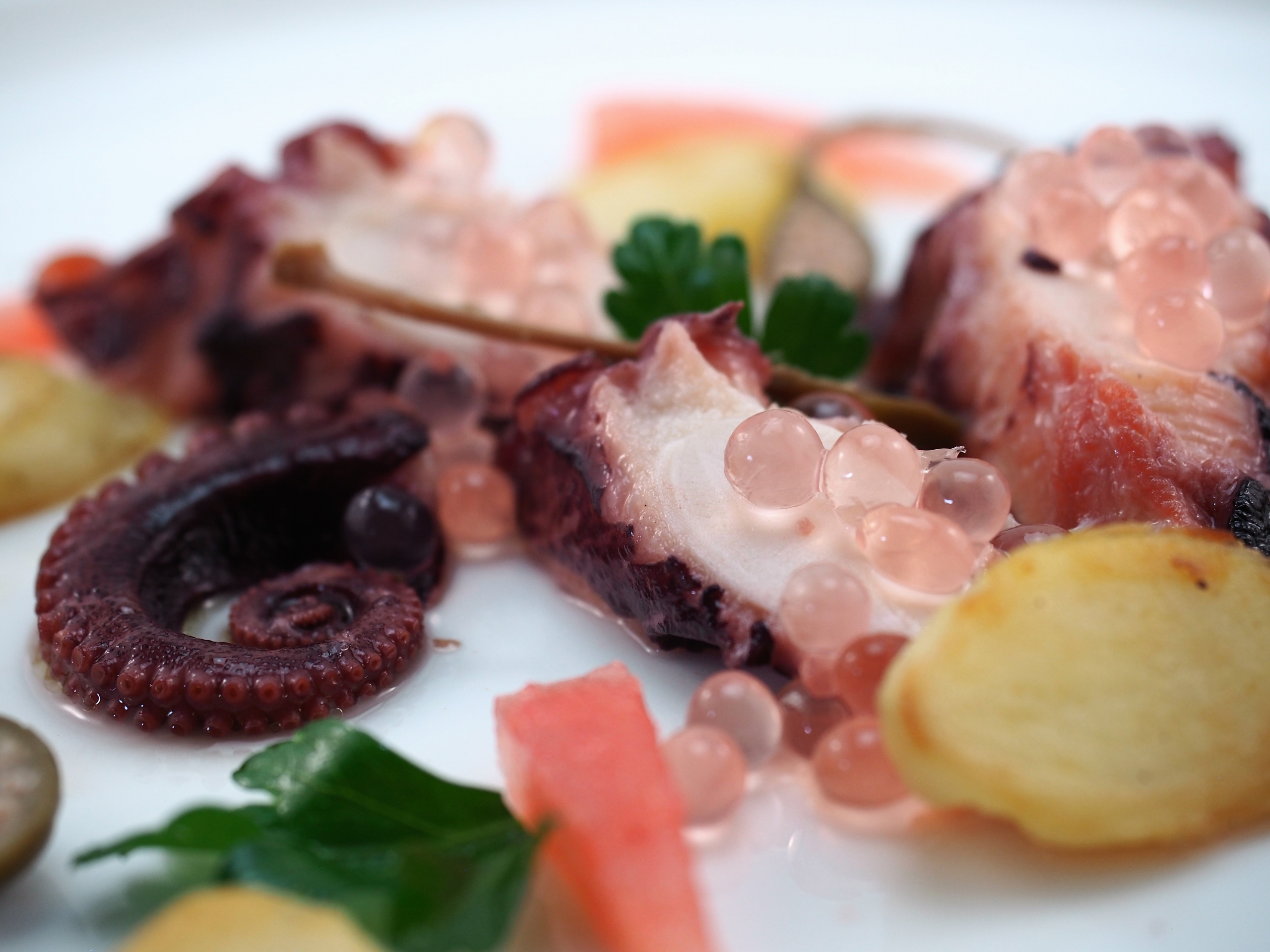 Octopus and Potato with Shallot & White Balsamic Flavour Pearls