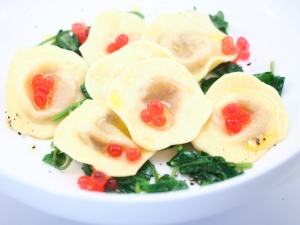 Roast Pumpkin and Caramellised Onion Ravioli, Greens and Native Bush Tomato Flavour Pearls