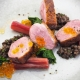 Duck Breast, Lentils, Rhubarb and Tangerine Flavour Pearls