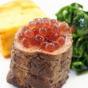 Lamb Loin with Pomme Anna Sauteed Spinach and Blackcurrant & Juniper Flavour Pearls