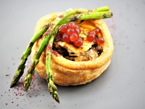Goats Cheese and Asparagus Tart with Pickled Beetroot Flavour Pearls