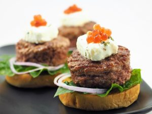 Mini Lamb Burger with Pickled Beetroot Flavour Pearls