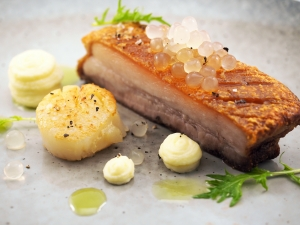 Pork Belly, Scallop, Smoky Potato and Yuzu Flavour Pearls