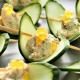 Crab and Cucumber Canape with Mango Flavour Pearls