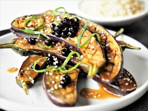 Miso Glazed eggplant with Soy Flavour Pearls