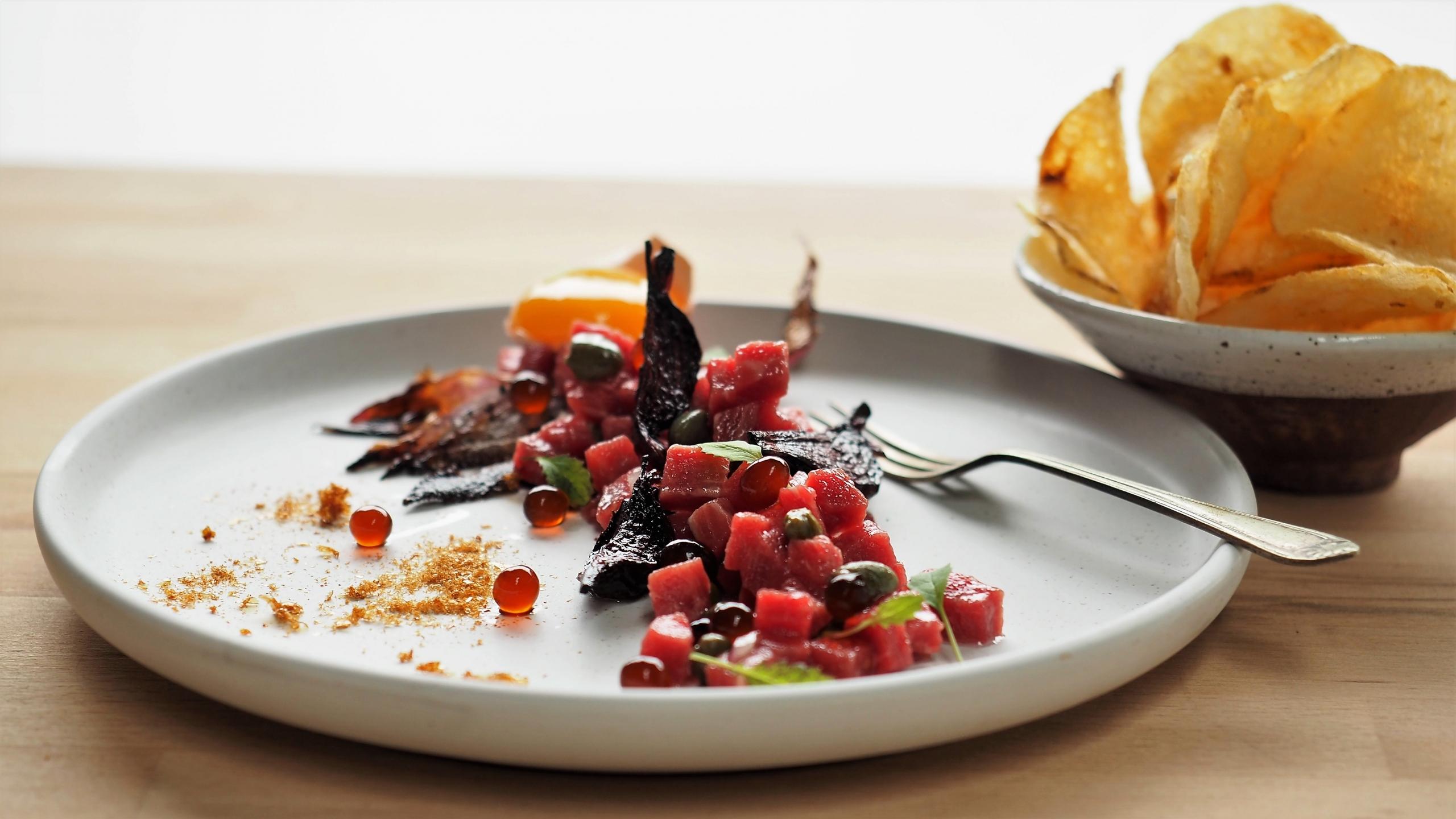Steak Tartare with Balsamic Flavour Pearls & Crisps