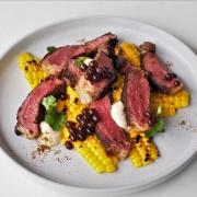 Chipotle Rubbed Steak with Charred Corn & Espresso Flavour Pearls