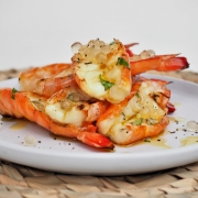 Split Prawns with Garlic Butter and Lemon & Black Pepper Flavour Pearls