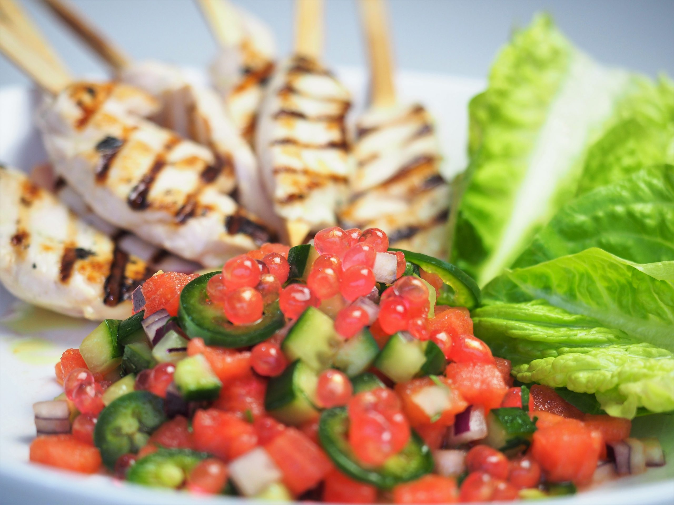 Chicken Skewers with Salsa and Golden Watermelon Flavour Pearls